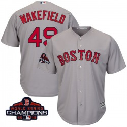 Tim Wakefield Boston Red Sox Youth Authentic Majestic Cool Base Road 2018 World Series Champions Jersey - Gray