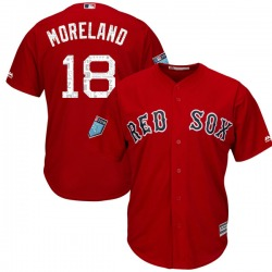 Mitch Moreland Boston Red Sox Youth Authentic Cool Base 2018 Spring Training Majestic Jersey - Red